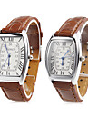 Couple Quartz Montre Bracelet Japonais Montre Decontractee Polyurethane Bande Charme / Mode Marron