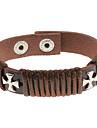 Solid Cross Brown Leather Bracelet