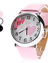 quartz analogique coeur modèle cadran PU bande de montre-bracelet des femmes (couleurs assorties)