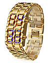 Men's Watch Blue LED Digital Lava Style Gold Steel Band Wrist Watch Cool Watch Unique Watch