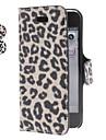 estampa de leopardo estojo de couro pu com suporte para o iphone 5/5s