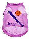 Cães Camiseta Púrpura Verão Esporte