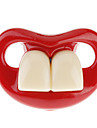Bebê alegre dois dentes da frente chupeta com lábios vermelhos