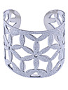 lureme®ultra-bracelet large ouverte motif de fleur creuse-out