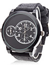 V6® Men's Military Style Dual Time Zones Black Fabric Band Quartz Wrist Watch Cool Watch Unique Watch