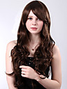 Long High Quality Synthetic Brown Curly Side Bang Wigs Heat Resistant