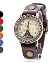 여성의 에펠 탑 스타일 아날로그 석영 가죽 손목 시계 (분류 된 색깔)