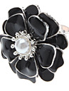 Black Oil Drop big Flower Pearl Ring