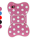 3D White Round Dots Bowknot Style Silica Soft Case for iPhone 4/4S (Assorted Colors)