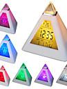 7 levou cores variaveis em forma de piramide alarme digital calendario relogio termometro (branco, 3xAAA)
