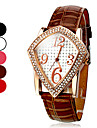 여자의 다이아몬드 스퀘어 패턴 PU 아날로그 석영 손목 시계 (분류 된 색깔)