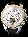 Męskie Zegarek na nadgarstek / zegarek mechaniczny Hollow Grawerowanie Skóra Pasmo Luksusowy Czarny / Nakręcanie automatyczne
