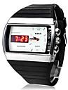 led-quartz numérique-analogique cadran blanc caoutchouc noir montre-bracelet des hommes