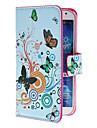 Для Кейс для  Samsung Galaxy Бумажник для карт / со стендом / Флип / С узором Кейс для Чехол Кейс для Бабочка Искусственная кожа Samsung