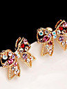 Women's Stud Earrings Luxury Love Cute Style Rhinestone Alloy Bowknot Jewelry Party Daily Casual