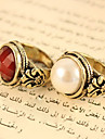 Ring Party Daily Casual Jewelry Pearl Alloy Rhinestone Women Statement Rings 1pc,4 White Red