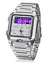 Dial de aço relógio de pulso dos homens Multi-Function Analog-Digital Band (Silver)