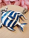 Européens et américains des bijoux rétro bleu de poissons tropicaux chaîne long pull collier N66