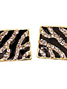 2013 유럽과 미국 스타일의 사각 상자 얼룩말 줄무늬 다이아몬드 귀걸이 다이아몬드 귀걸이 E46