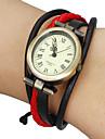 Femme Montre Tendance Bracelet de Montre Japonais Quartz Vrai Cuir Bande Boheme Noir Blanc Rouge Marron KakiNoir/Rouge Noir/Blanc