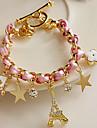 Z & estrelas X® flores corações cordão de couro torre Eiffel bracelete de cristal
