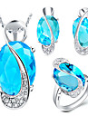 Wedding Party Crystal Zircon Platinum Plated Alloy Oval Rings Body Jewelry Earrings Necklaces