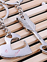 A Pair Lover Heart and Arrow Shaped Silver Keychains