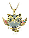 Women\'s Imitation Diamond Pendant Necklace Vintage Necklace - Personalized Luxury Fashion Owl Golden Necklace For Daily Casual