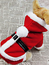 Dog Costume Coat Hoodie Dog Clothes Breathable Cosplay Christmas Solid Red Costume For Pets