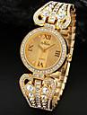 Mulheres do Partido Cristal Ouro Prata Alloy Banda Analog Quartz Bracelet Watch