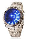 Hommes Montre Bracelet Numerique LED Acier Inoxydable Bande Argent Bleu