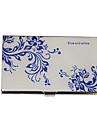 Personalizado Blue-White Flower Pattern gravado Negocios Titular