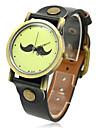 Unisex Moustache Design PU Band Quartz Analog Wrist Watch (Assorted Colors)