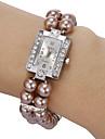 아가씨들 패션 시계 팔찌 시계 모조 다이아몬드 시계 석영 모조 다이아몬드 밴드 진주 화이트