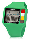 Unisexe multifonctionnel numérique Carré LCD Rubber Band Wrist Watch (couleurs assorties)