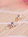 Letras de diamantes AMOR multi-cor do diamante flor de pêssego coração brincos E800