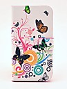 Pretty Butterfly and Flower Pattern PU Leather Case with Magnetic Snap and Card Slot for Samsung Galaxy S3 I9300