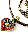 Fashion Antique Zircon Multicolor Heart Pendant Leather Necklace(Random Color)