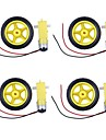 2 in1 TT Motor + Roda para Robot DIY Set-amarelo + preto (4 PCS)