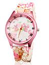여자의 분홍색 꽃 본 실리콘 밴드 석영 손목 시계