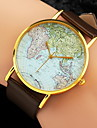 Women\'s Wrist watch Fashion Watch Quartz World Map Pattern PU Band Charm Black White Brown