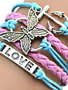 Women\'s ID Bracelets Leather Bracelet Wrap Bracelet Unique Design Love Heart Initial Jewelry Plaited Fashion Multi Layer European