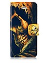 Skull Leather Full Body Case with Card Slot and Magnetic Snap for iPhone 5/5S