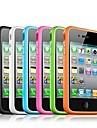 tpu stötfångare ram fallet med metallknappar för iPhone 4 / 4S (blandade färger)