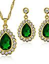 Fashion Women's Gold Plated Jewelry Set Green Emerald Crystal Rhinestone Vintage Jewelry Set