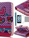 COCO 재미 필름과 퍼플 하트 패턴 PU 가죽 가득 차있는 몸 케이스 ®, 스탠드와 스타일러스 아이폰 5/5S를위한