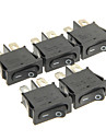 Hongju Diy T85 2-Pin Rocker Boat Switch - Black Color (5 Pcs)