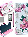 COCO FUN® Beautiful Rose Flower Pattern PU Leather Full Body Case With Film, Stand And Stylus for iPhone 4/4S