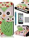 COCO ® FUN Coruja Flor Verde Padrão PU Leather Case Full Body com protetor de tela, suporte e Stylus para iPhone 4/4S