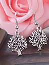 Vintage Ancient Silver Peace Tree Alloy Drop Earring(1 Pair)